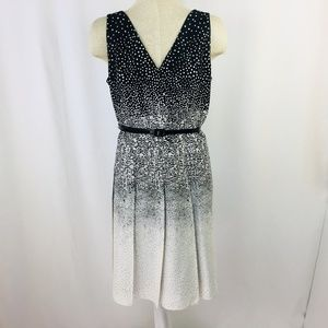 Kay Unger Polka Dot Pleat Dress  Size 16 XL